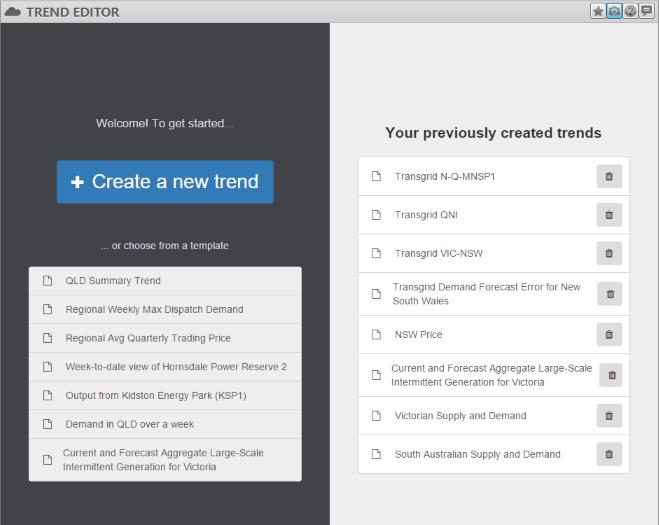 Image of the Trend Editor widget